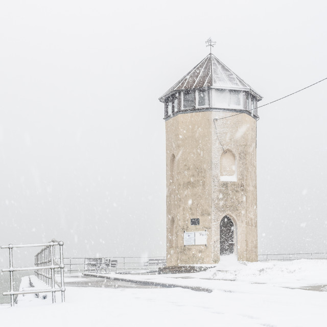 """""""Batemans Tower in the snow"""" stock image"""