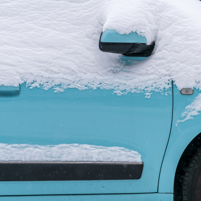 """""""Blue car under the snow"""" stock image"""