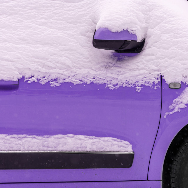 """""""Lilac car under the snow"""" stock image"""