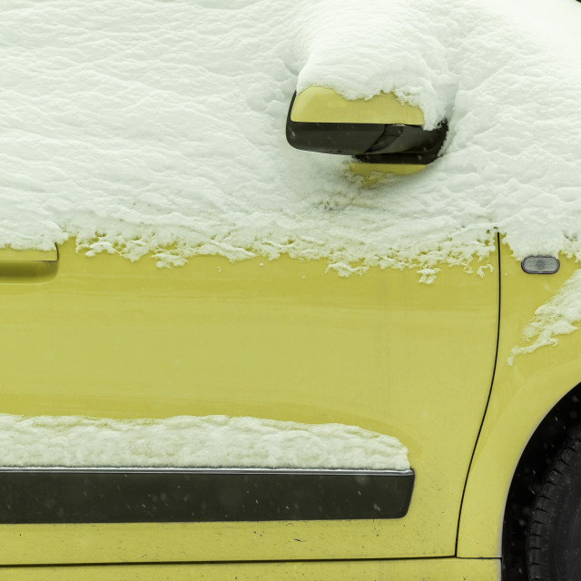 """""""Yellow car under the snow"""" stock image"""