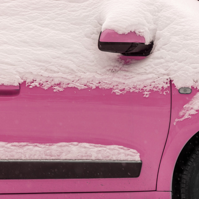 """""""Pink car under the snow"""" stock image"""