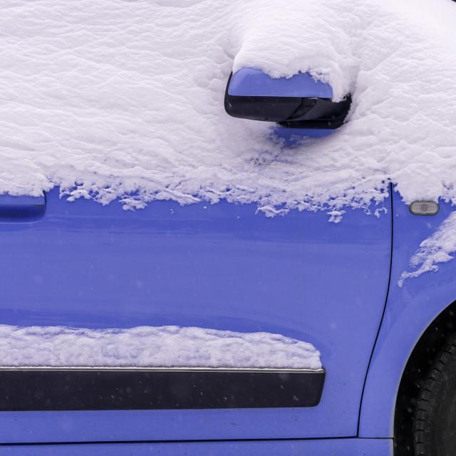 """Purple car under the snow"" stock image"