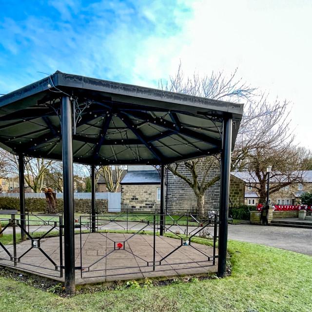 """Bandstand and War Memorial Garden, Silsden (Cobbydale) Yorkshire, England,"" stock image"
