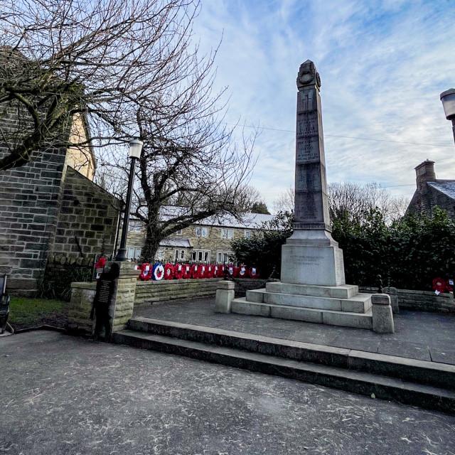 """War Memorial, Silsden (Cobbydale) Yorkshire, England."" stock image"