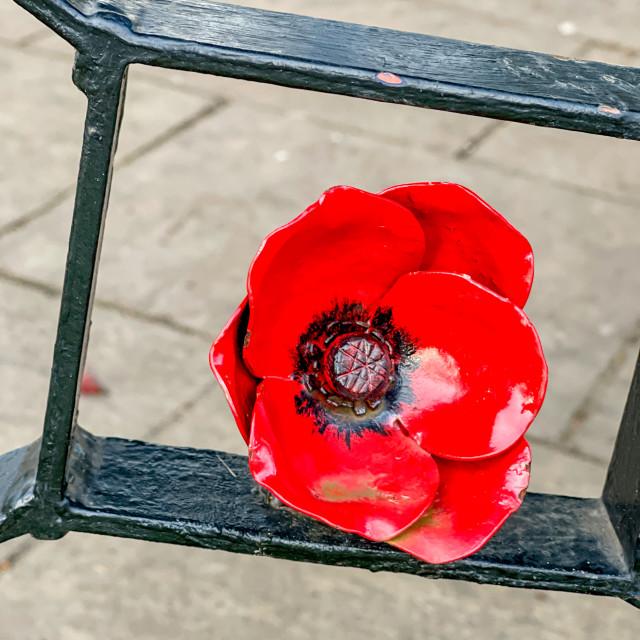 """Bandstand, Ornate Poppy Decoration, Silsden (Cobbydale) Yorkshire, England."" stock image"