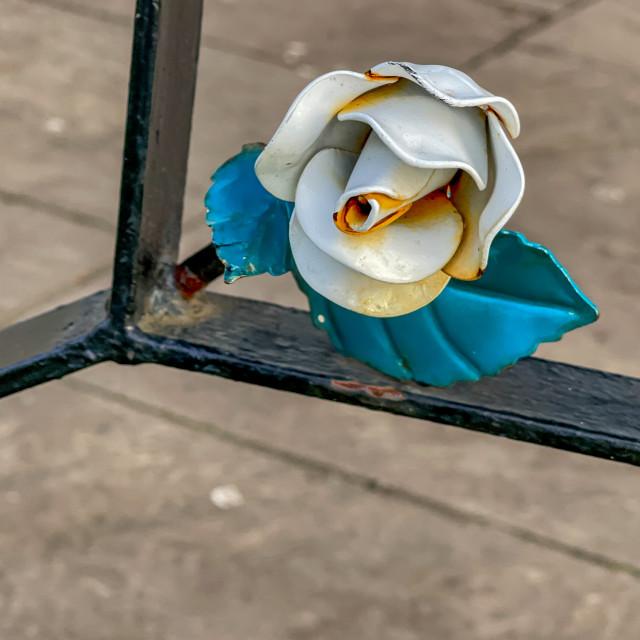 """""""Bandstand, Ornate Yorkshire Rose Decoration, Silsden (Cobbydale) Yorkshire, England."""" stock image"""