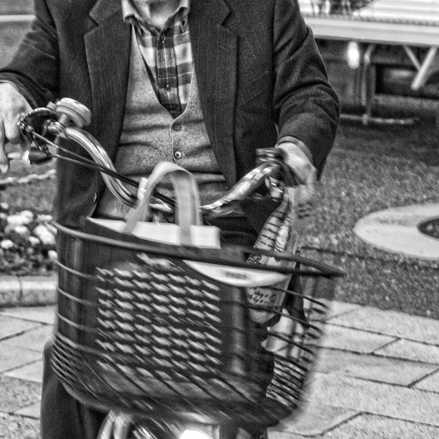 """""""Old Japanese man riding a bicycle"""" stock image"""