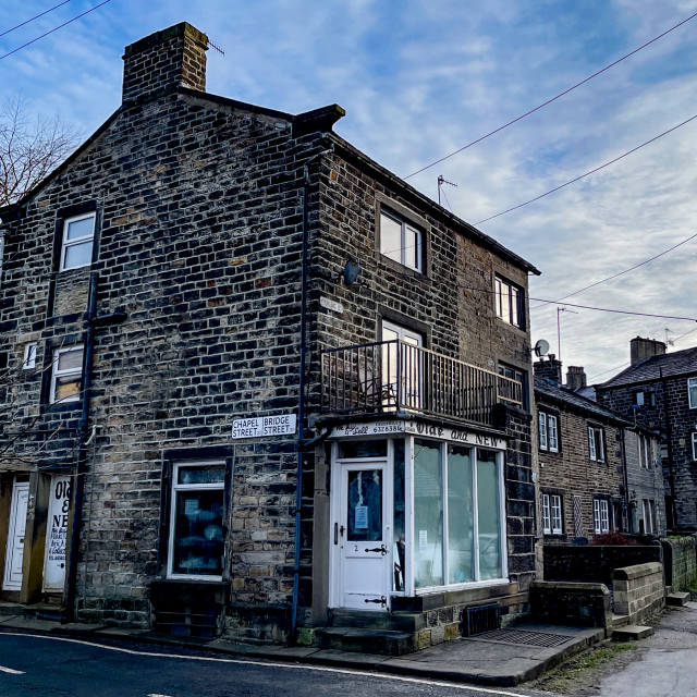 """""""Silsden, Old and New Shop (Cobbydale) Yorkshire, England."""" stock image"""