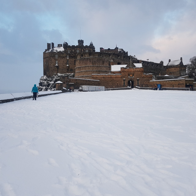 """Edinburgh Castle in Winter"" stock image"
