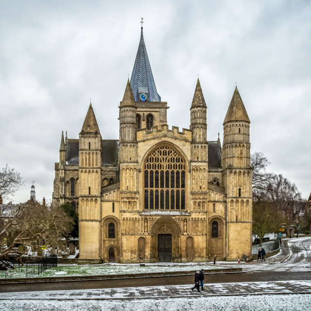 """""""Rochester Cathedral in Snow"""" stock image"""