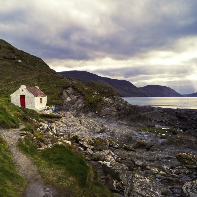 """""""Small cottage with a big view"""" stock image"""