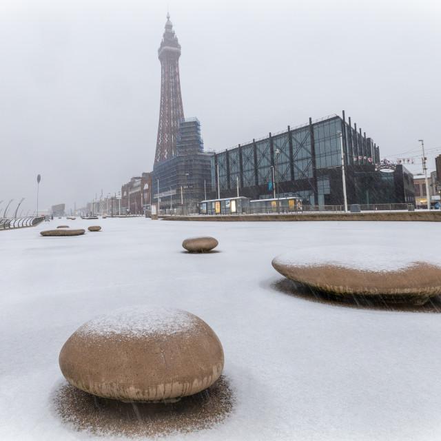 """Snowfall in Blackpool"" stock image"