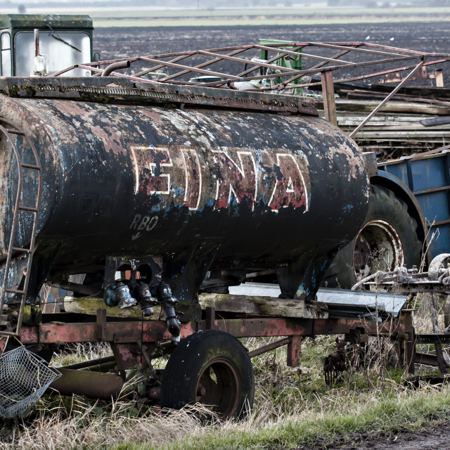 """Abandoned fuel tanker"" stock image"