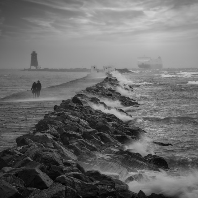 """""""Poolbeg in Stormy Waters"""" stock image"""
