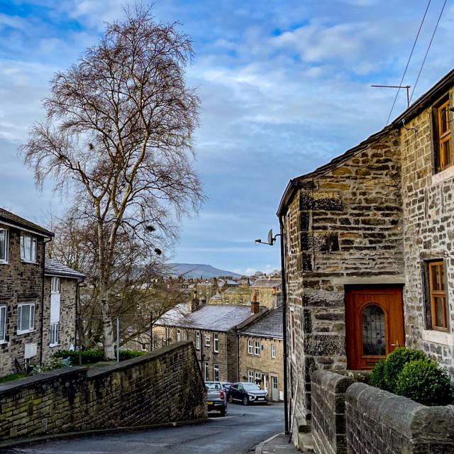 """Silsden Cottages, North Street, Cobbydale, Yorkshire, England."" stock image"