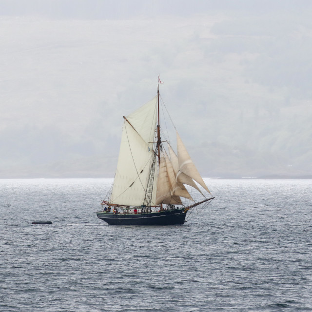 """""""Tallship, Sound of Mull"""" stock image"""
