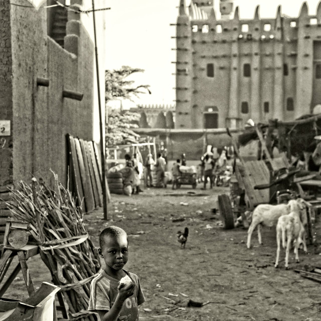 """""""Small boy in front of the Great Mosque of Djenné, Mali"""" stock image"""