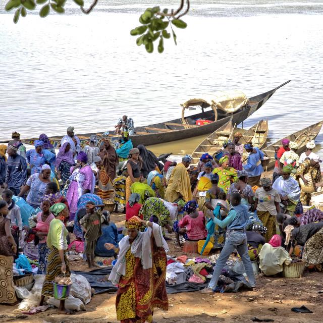 """Riverside market, Mopti, Mali"" stock image"