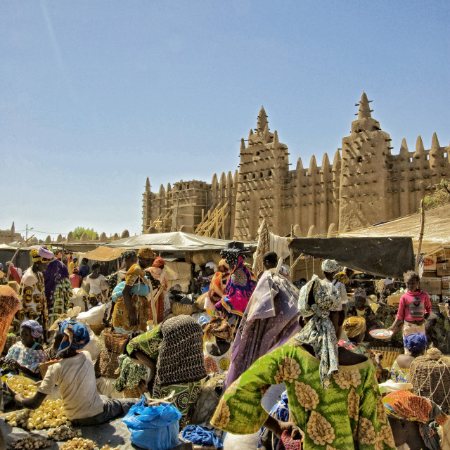 """Market in front of the Great Mosque of Djenné; Mali, West Africa"" stock image"