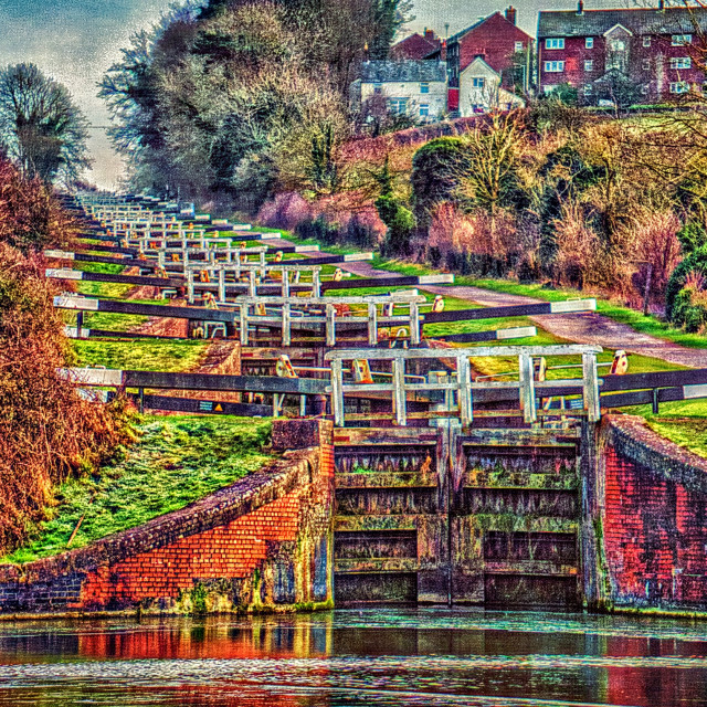 """Caen Hill Locks - Devizes, Wiltshire, England"" stock image"