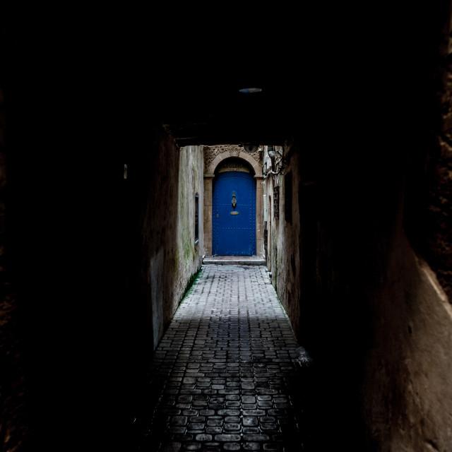 """""""Blue door in Morocco"""" stock image"""