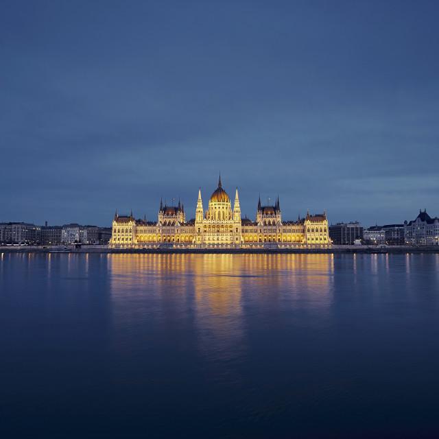 """""""Budapest skyline at dusk"""" stock image"""