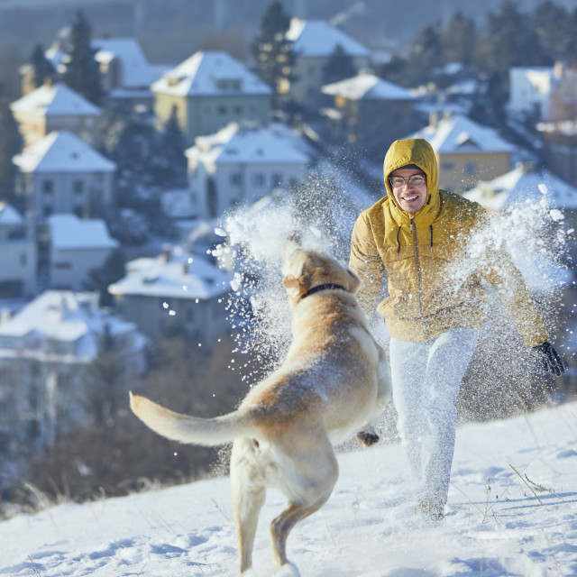 """""""Man with dog playing in snow against city"""" stock image"""