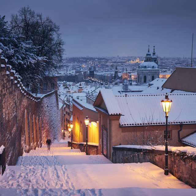 """""""Cityscape of Prague in winter"""" stock image"""