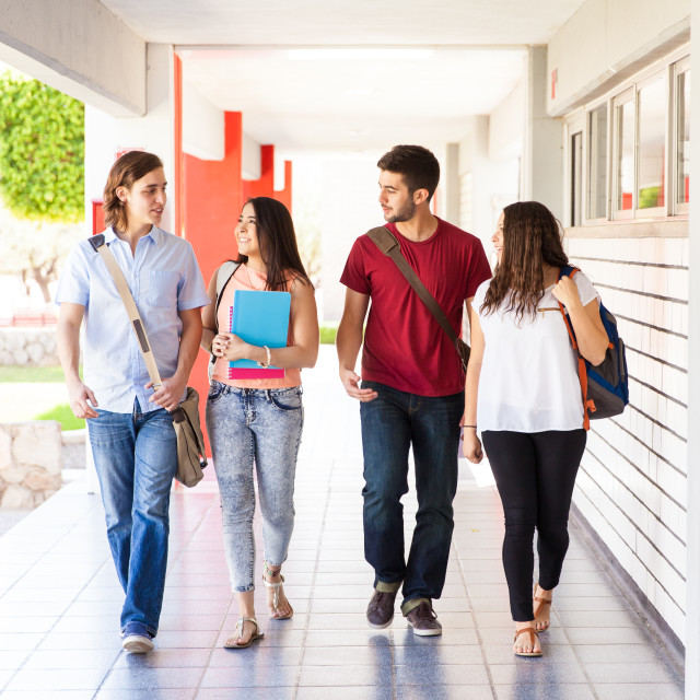 """""""College students walking together"""" stock image"""