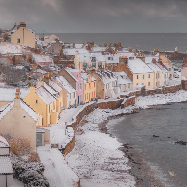 """""""Pittenweem in the Snow"""" stock image"""