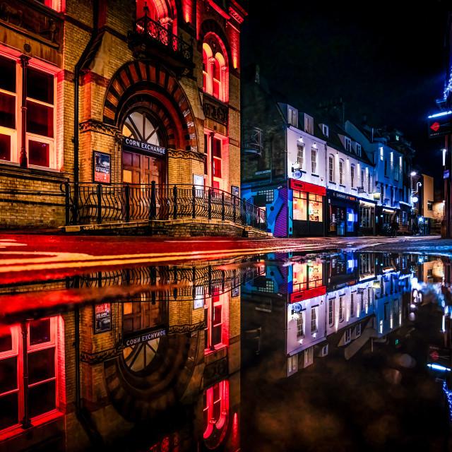 """""""Night Reflections of Cambridge Corn Exchange."""" stock image"""