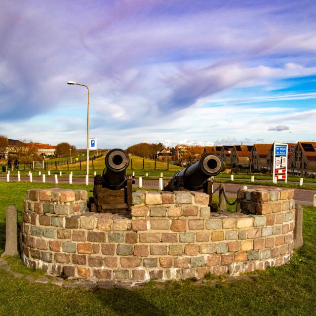 """""""War Memorial to commemorate the Battle of Ter Heijde"""" stock image"""