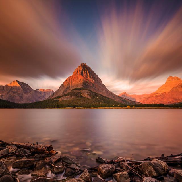 """Dramatic Sunrise In Glacier National Park"" stock image"
