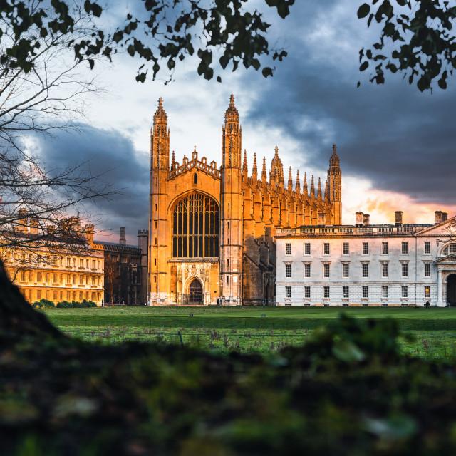 """Sunset on King's College Chapel, University of Cambridge."" stock image"