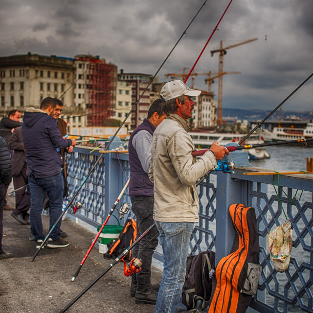 """Fishing from Galata bridge, Istanbul, Turkey"" stock image"