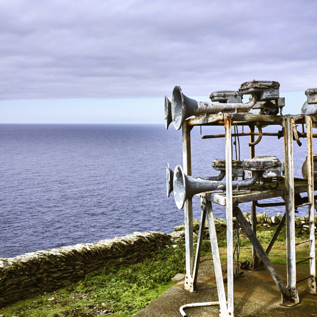 """Disused forghorns at the Calf of Man"" stock image"