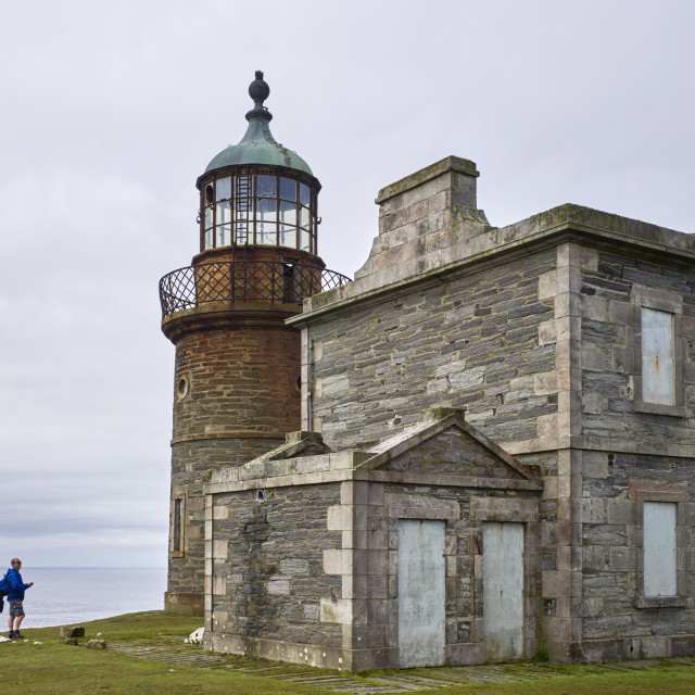 """""""Day visitors by the lighthouses built 1816-18"""" stock image"""