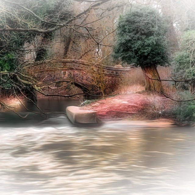 """""""A Dreamy Bridge in The Middle Of Winter"""" stock image"""