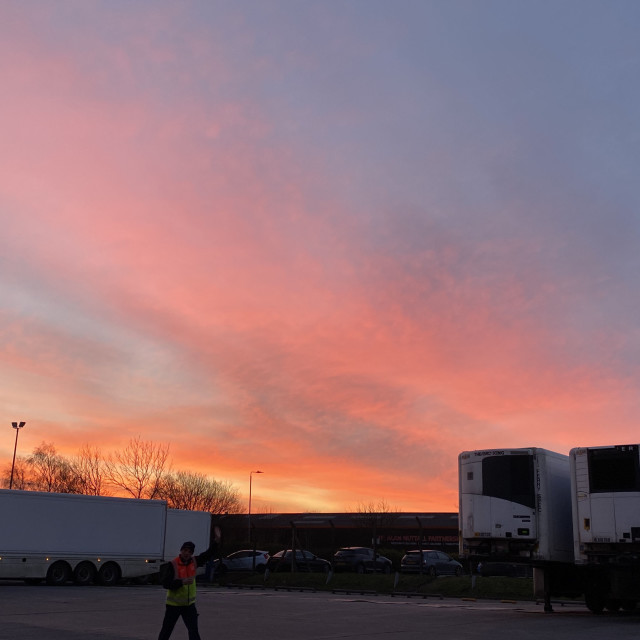 """Early Morning, Happy Tesco Driver, Hinckley, February 2021"" stock image"