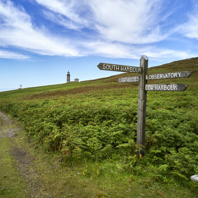 """""""The main signpost on Calf of Man"""" stock image"""