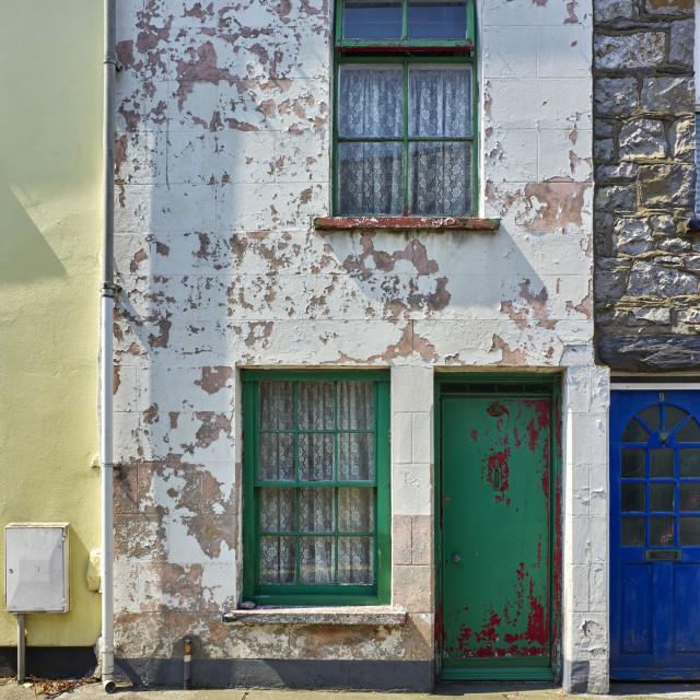 """Narrow traditional Manx terraced house"" stock image"