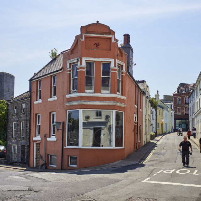 """""""Bank Street viewed from the harbour"""" stock image"""