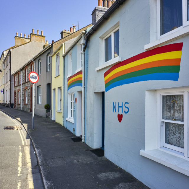 """""""Cottages painted with love NHS rainbows"""" stock image"""