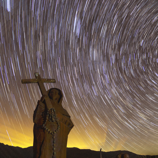 """""""Star trails over monk"""" stock image"""