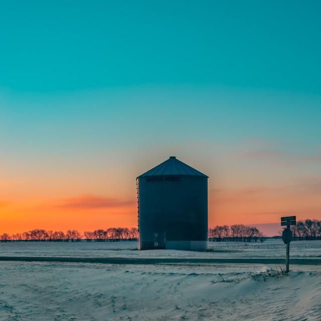 """Sunrise in the Prairies Panorama (panel 3 of 3, right)"" stock image"
