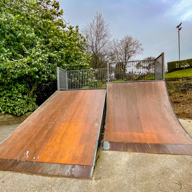 """Skatepark, Silsden, Cobbydale, Yorkshire, England."" stock image"