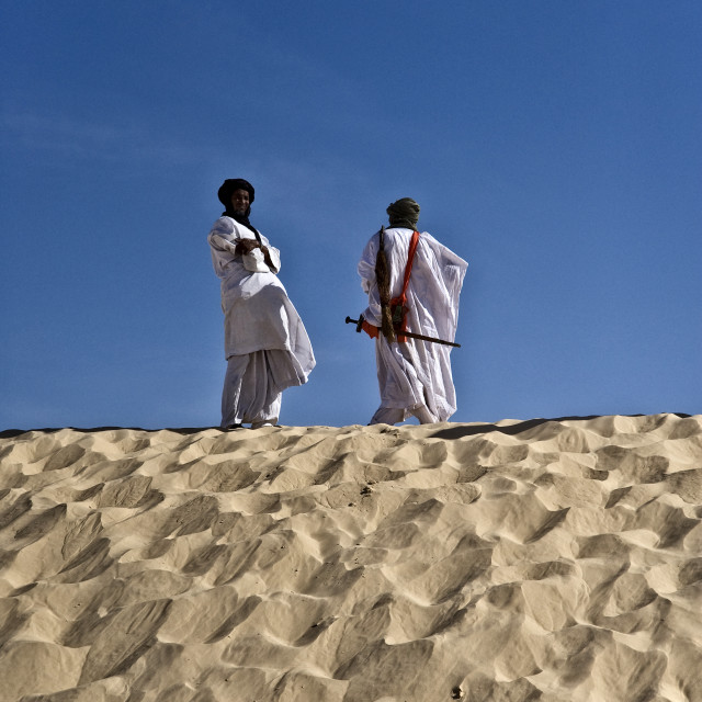 """Touareg men on Sahara dune"" stock image"