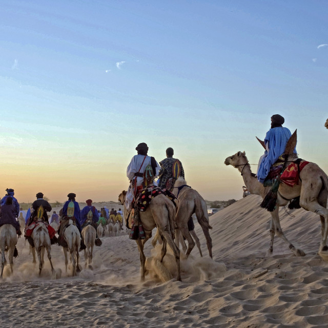 """Touaregs and camels at sunset; Sahara Desert"" stock image"