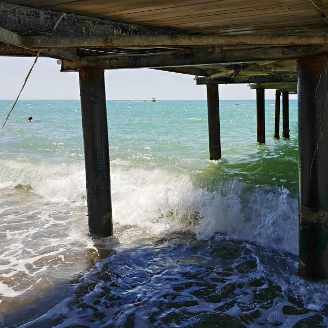 """Pier into the sea at Antalya"" stock image"