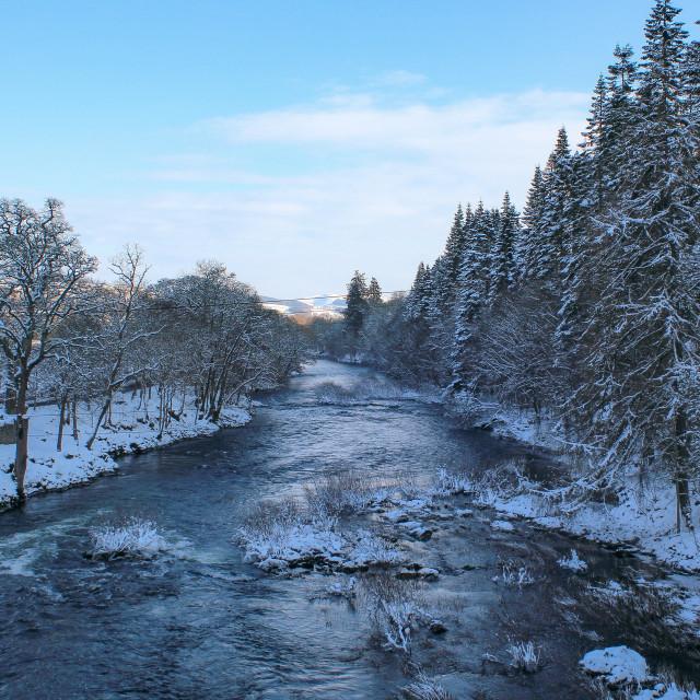 """Riverside snowy scenes"" stock image"